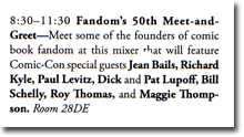 Fandom's 50th Meet and Greet announcement in the Comic-Con guide