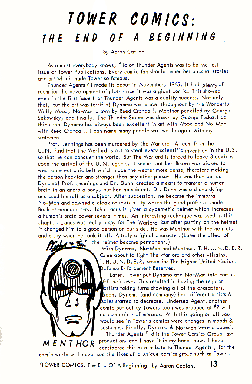 Cringe inducing article I wrote for Bill G. Wilson's The Collector fanzine as a kid ...